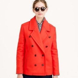 J. Crew Melton Wool Pea Coat Jacket Buttons Red 2
